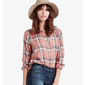 LUCKY BRAND | Peach & Gray Plaid Shirt